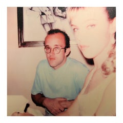 """Keith Haring and Debi Mazar"" Square Polaroid SX-70 Photograph Printed on Canvas"