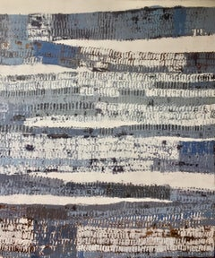 """What Gets Passed Down"" Abstract encaustic painting of grey, white, blue pattern"