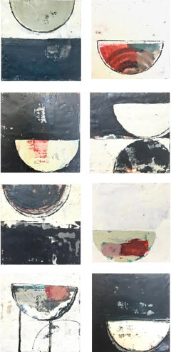 """Rise"" Eight abstract encaustic paintings in black, white and reds"