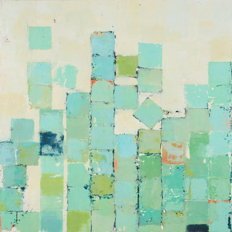 "Marissa Voytenko Abstract Painting - ""Trituration"" Abstract encaustic painting with white, turquoise, green squares"