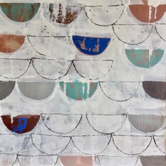 """What the Tide Brought In"" Encaustic painting, half circles, neutral, blue/green"