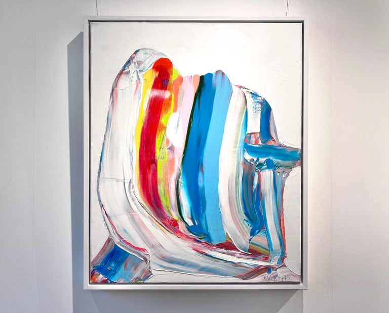 Prize winning multicolored abstract painting 'Nordic Signals' by Marit Bostad - Painting by Marit Geraldine Bostad