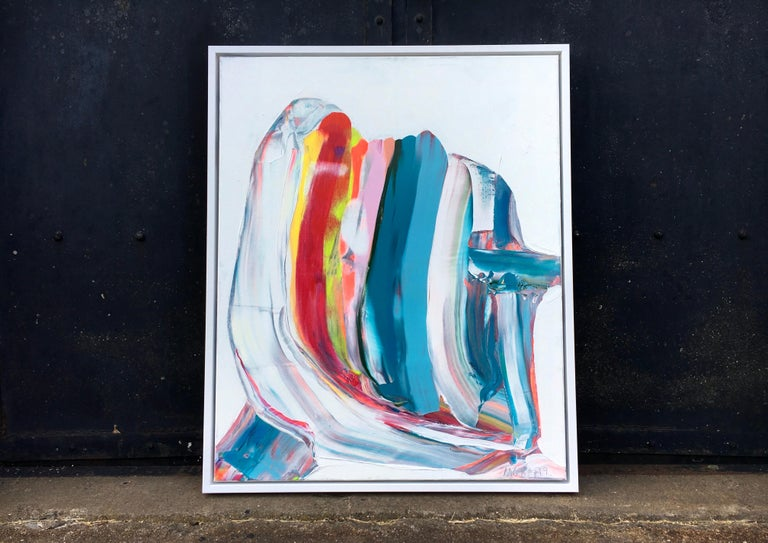 'Nordic Signals' by Contemporary abstract colorist, Marit Geraldine Bostad, 2019. Acrylic on canvas, 41 x 33 in.   This painting was shortlisted for the Prestigious Ashhurst Emerging Artist Prize for 2020, and was exhibited in London at the Ashurst