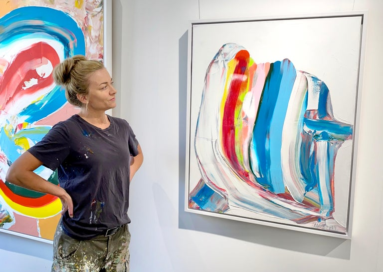 Prize winning multicolored abstract painting 'Nordic Signals' by Marit Bostad 1