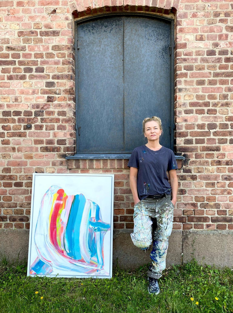 Prize winning multicolored abstract painting 'Nordic Signals' by Marit Bostad 3