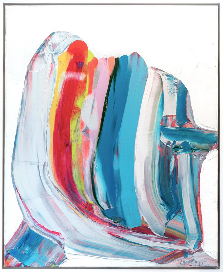 Marit Geraldine Bostad Abstract Painting - Prize winning multicolored abstract painting 'Nordic Signals' by Marit Bostad