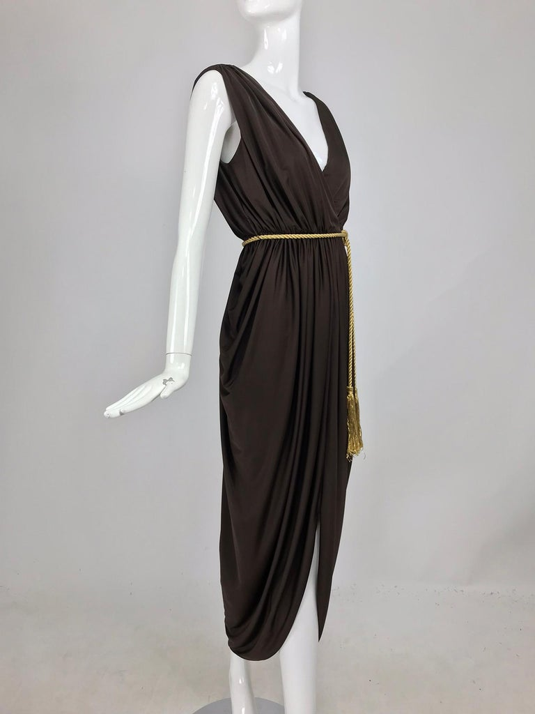 Marita by Anthony Muta plunge neck jersey petal hem maxi dress 1970s NWT. This is such a great dress and perfect for warm climates, travels well too. Silky chocolate brown jersey dress with deep front and back plunge, the dress is gathered at each