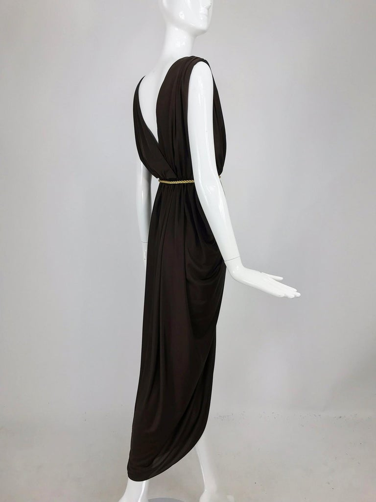 Marita by Anthony Muta Plunge Neck Jersey Petal Hem Maxi Dress 1970s NWT In New Condition For Sale In West Palm Beach, FL