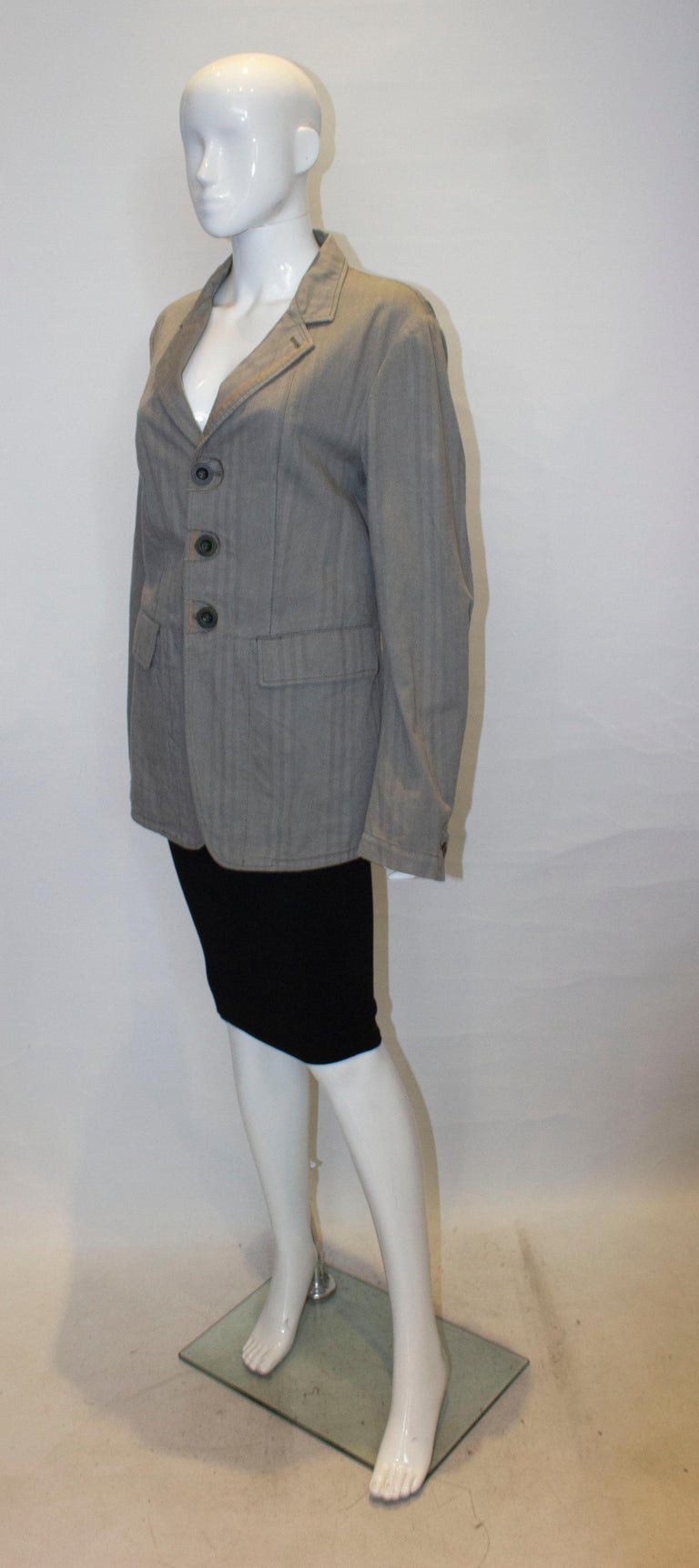 Gray Marithe and Francois Girbaud Mens Jacket For Sale