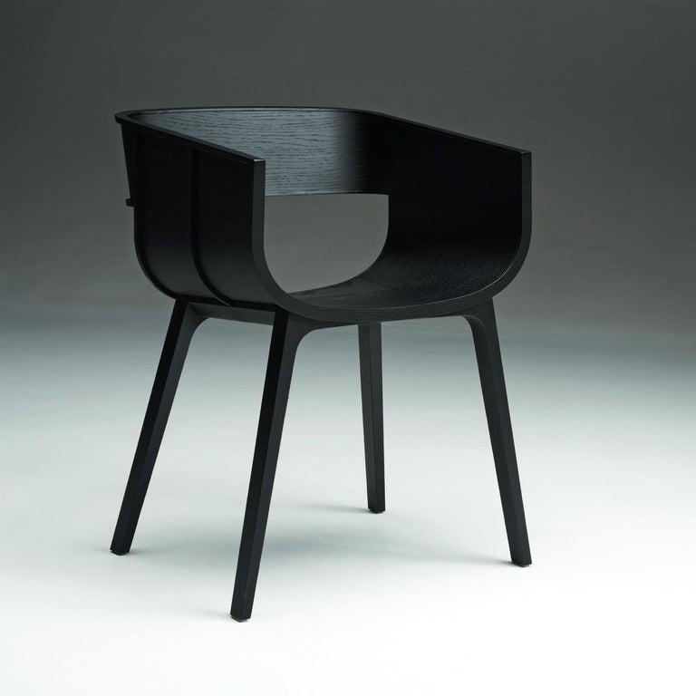 Italian Maritime Black Oak Chair by Benjamin Hubert For Sale