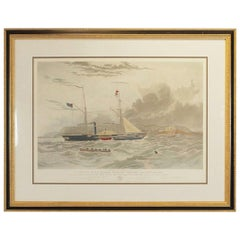 Maritime Hand Colored Engraving 'This View of H. M. Steam Frigate Geyser', 1856