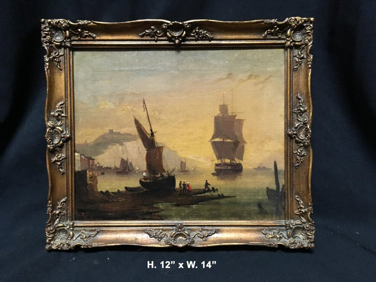 Maritime oil on canvas depicting a port scene.  Within a later wooden frame.  Late 19th-early 20th century Back of the canvas reads: