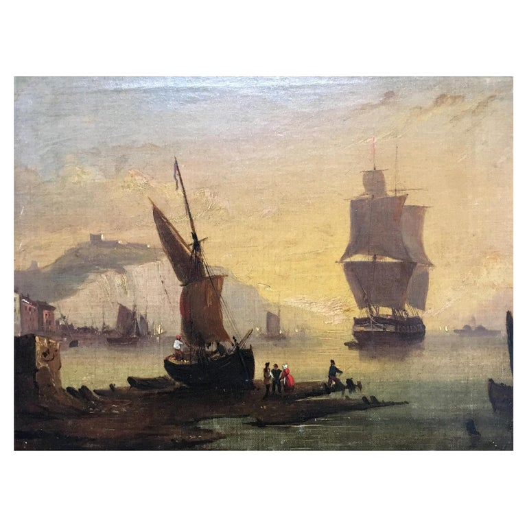 Maritime Oil on Canvas For Sale