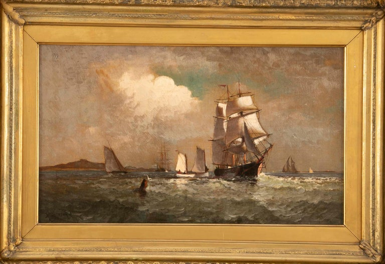 Signed oil on canvas by award winning American marine artist Marshall Johnson (1850 - 1921) of various sailing vessels off the coast in morning light.