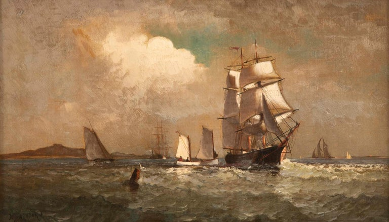 Maritime Oil Painting by American Marine Artist Marshall Johnson In Good Condition For Sale In Stamford, CT