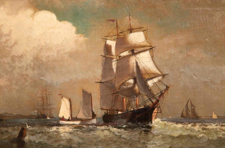 Late 19th Century Maritime Oil Painting by American Marine Artist Marshall Johnson For Sale