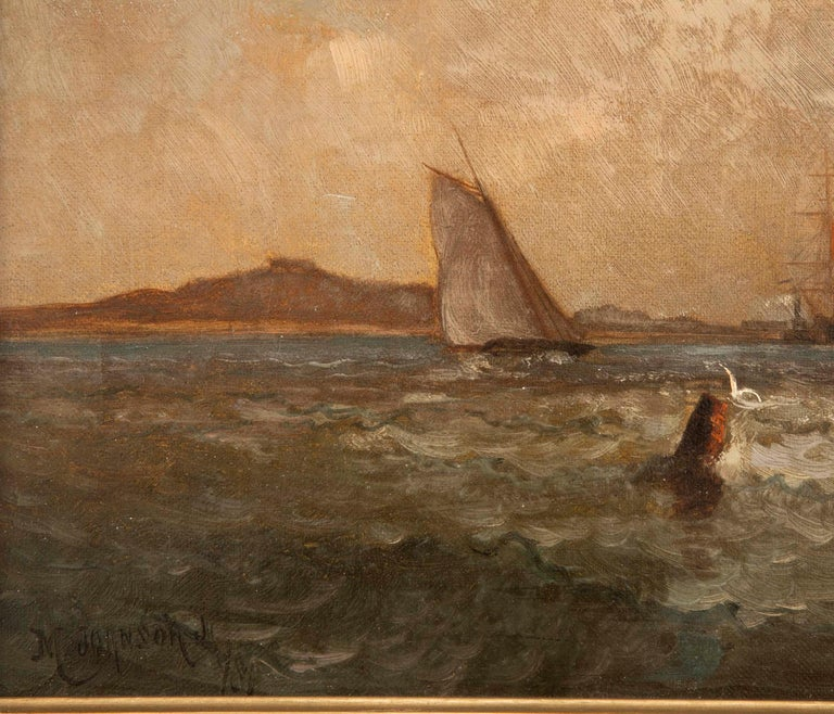 Canvas Maritime Oil Painting by American Marine Artist Marshall Johnson For Sale