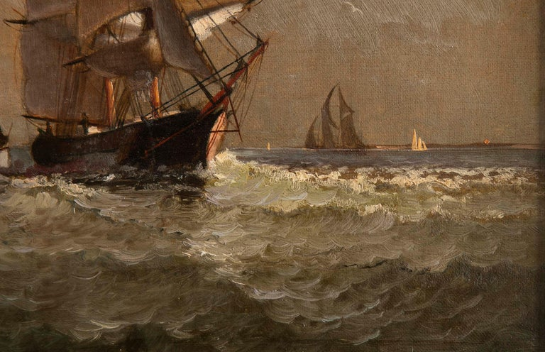 Maritime Oil Painting by American Marine Artist Marshall Johnson For Sale 1