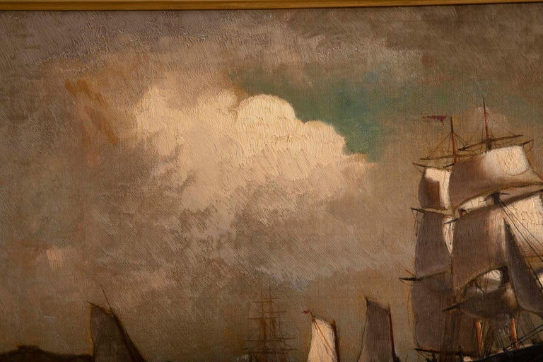 Maritime Oil Painting by American Marine Artist Marshall Johnson For Sale 2