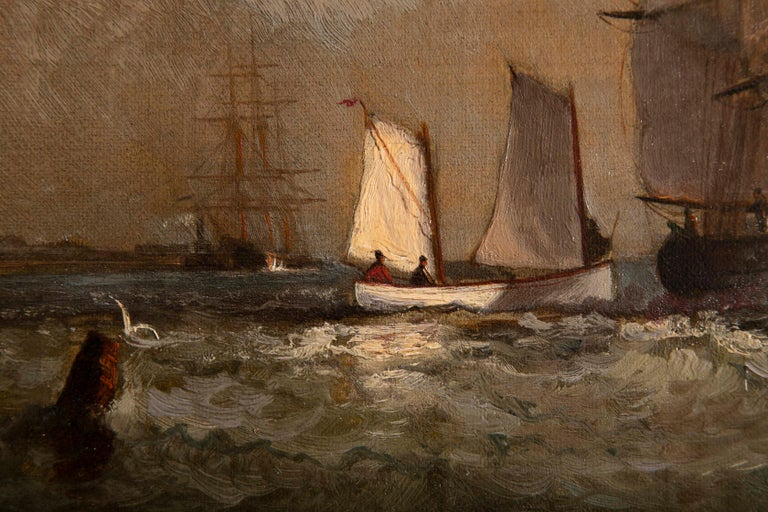 Maritime Oil Painting by American Marine Artist Marshall Johnson For Sale 3