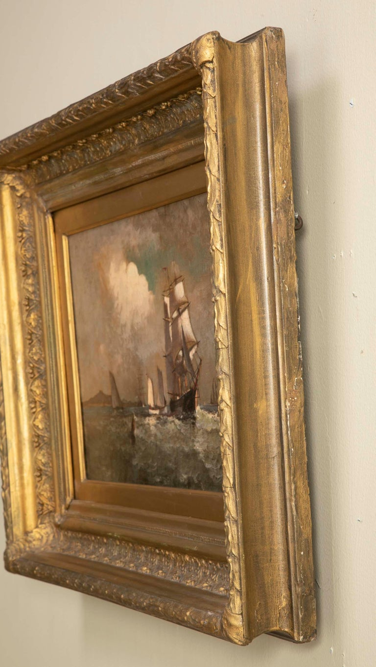 Maritime Oil Painting by American Marine Artist Marshall Johnson For Sale 4