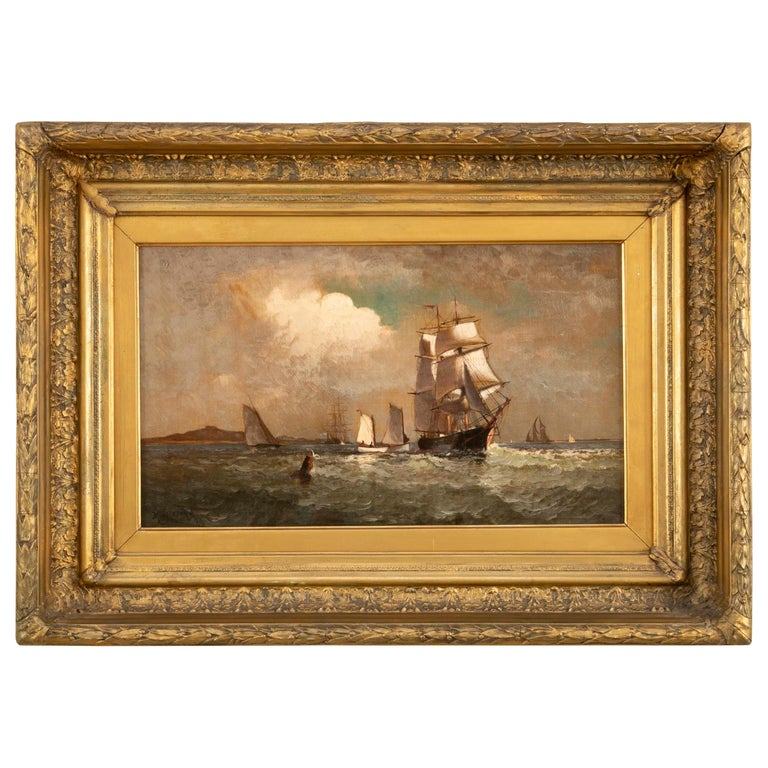 Maritime Oil Painting by American Marine Artist Marshall Johnson For Sale