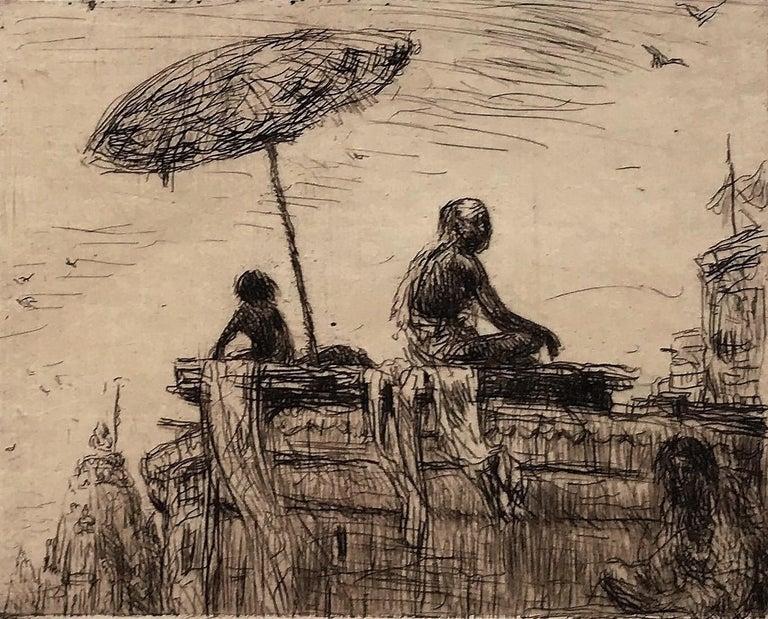 Evening at Benares - Brown Portrait Print by Marius Bauer