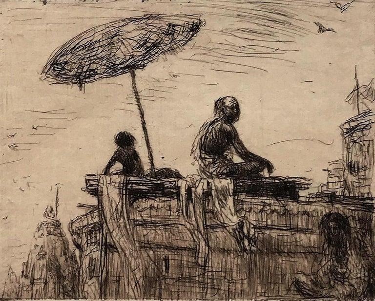 Marius Bauer Portrait Print - Evening at Benares