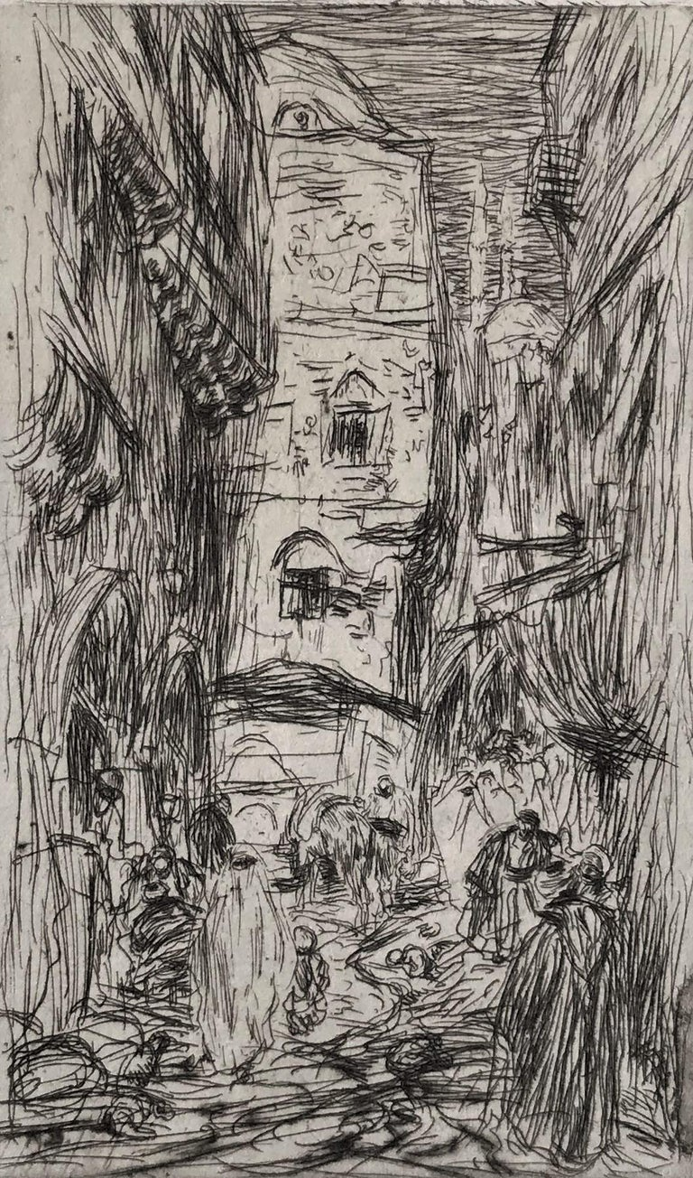 Old Houses, Stamboul. 1888. Etching and drypoint. Wisselingh 76. 6 3/4 x 4 1/8 (sheet 12 7/8 x 8 7/8). Edition 100, #76 A rich impression printed on the full sheet of cream laid paper with deckle edges. Initialed and numbered in pencil.  Housed in a
