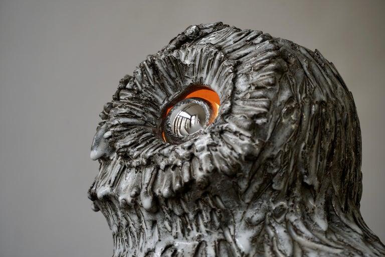 Marius Bessone Ceramic Owl Lamp Vallauris For Sale 4