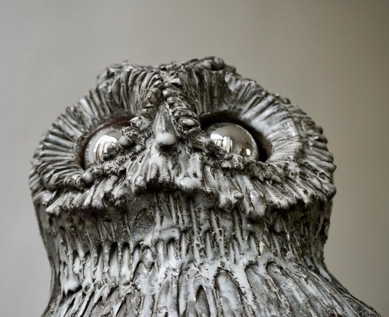 Marius Bessone Ceramic Owl Lamp Vallauris For Sale 6