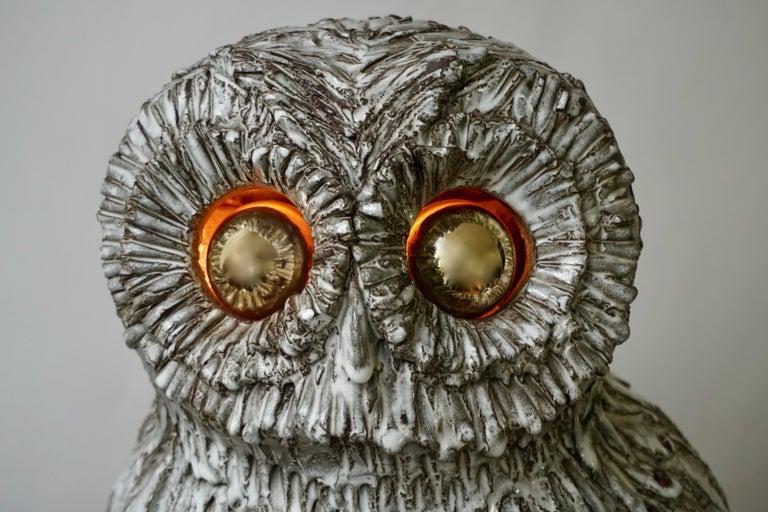 Marius Bessone Ceramic Owl Lamp Vallauris For Sale 9