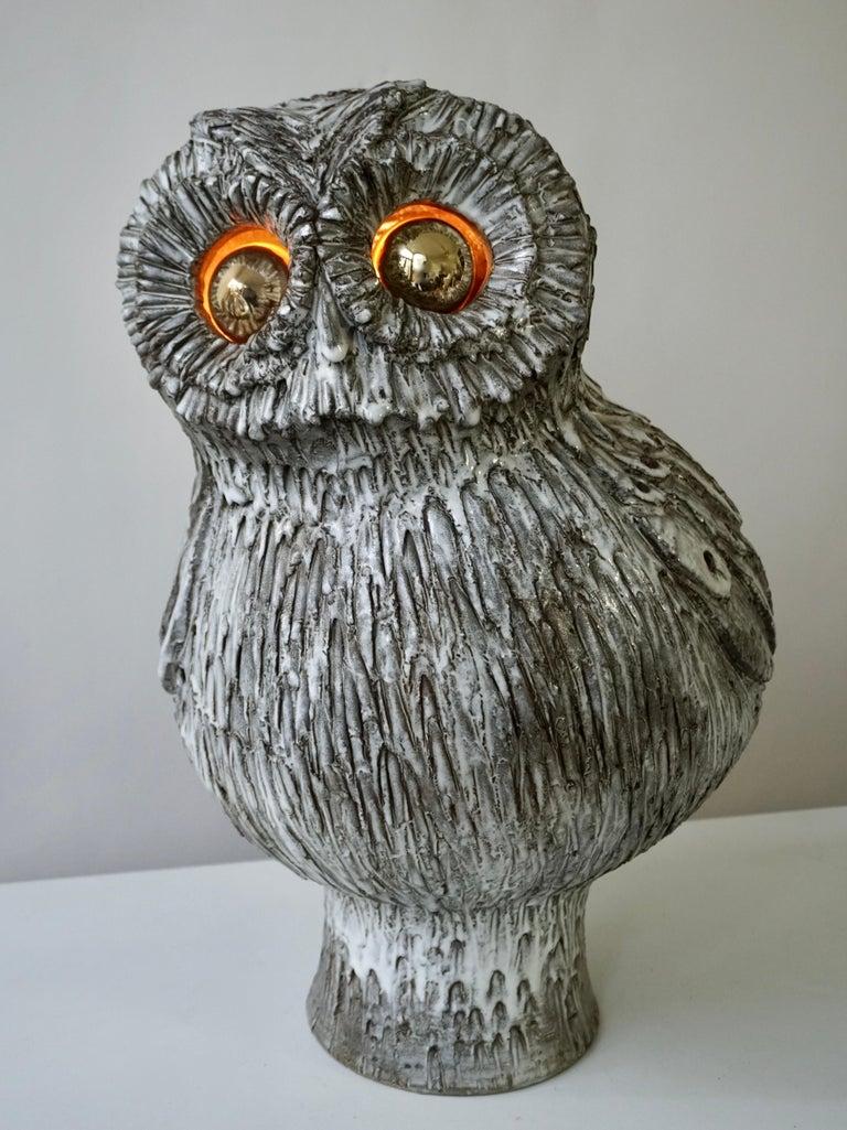 Marius Bessone Ceramic Owl Lamp Vallauris For Sale 10