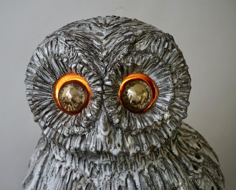 Marius Bessone Ceramic Owl Lamp Vallauris For Sale 11
