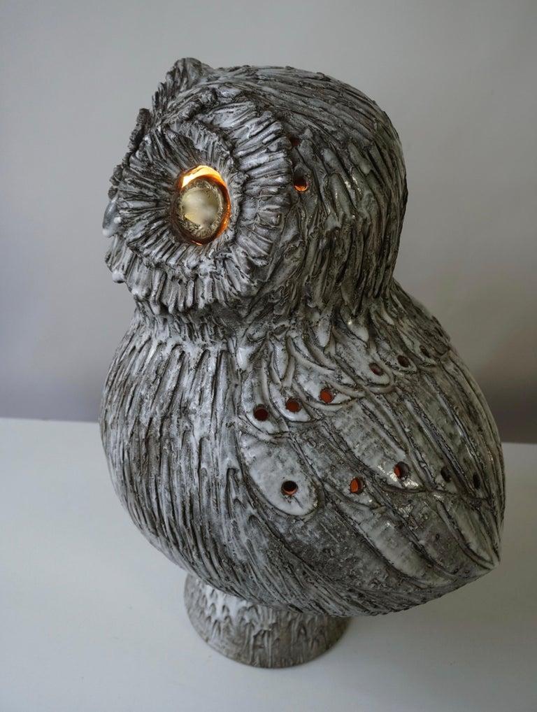 Marius Bessone Ceramic Owl Lamp Vallauris For Sale 12