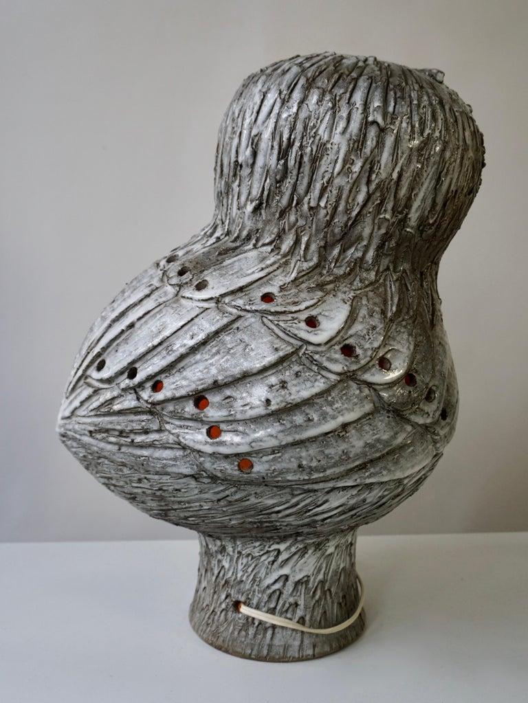 Marius Bessone Ceramic Owl Lamp Vallauris For Sale 13