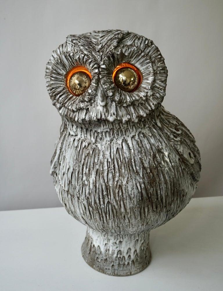Mid-Century Modern Marius Bessone Ceramic Owl Lamp Vallauris For Sale