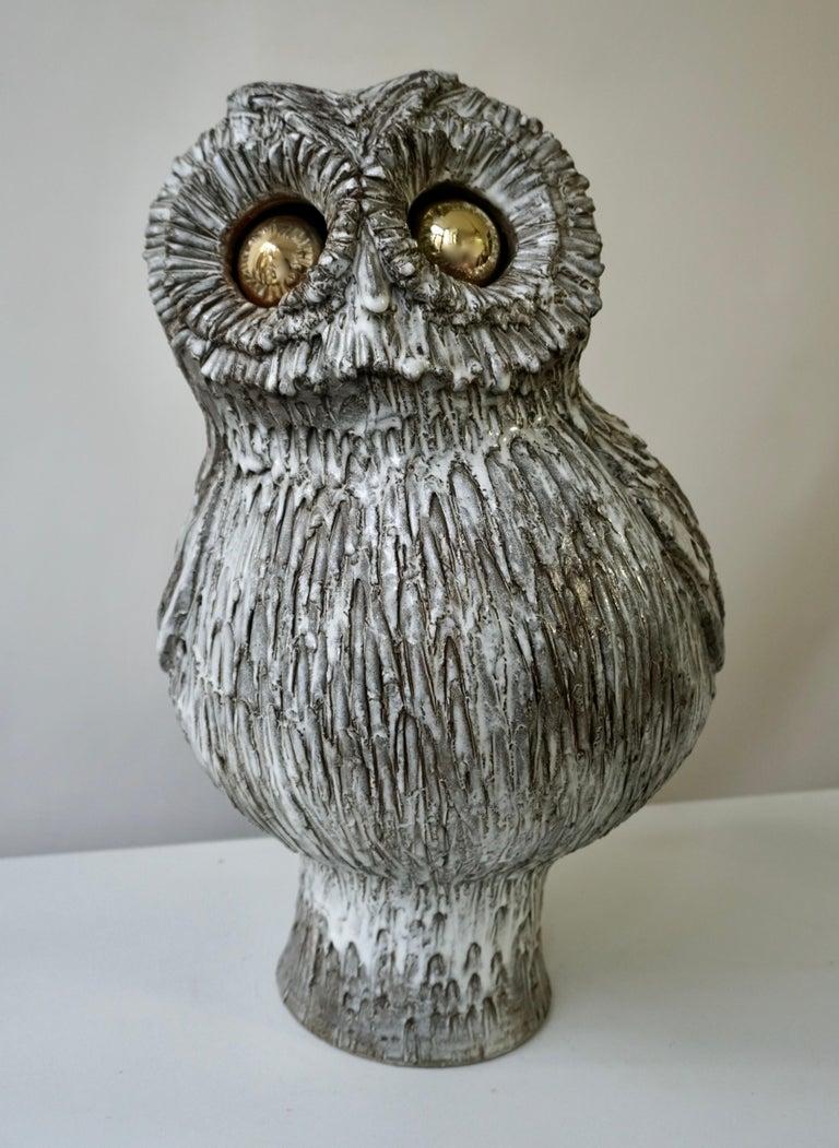 European Marius Bessone Ceramic Owl Lamp Vallauris For Sale