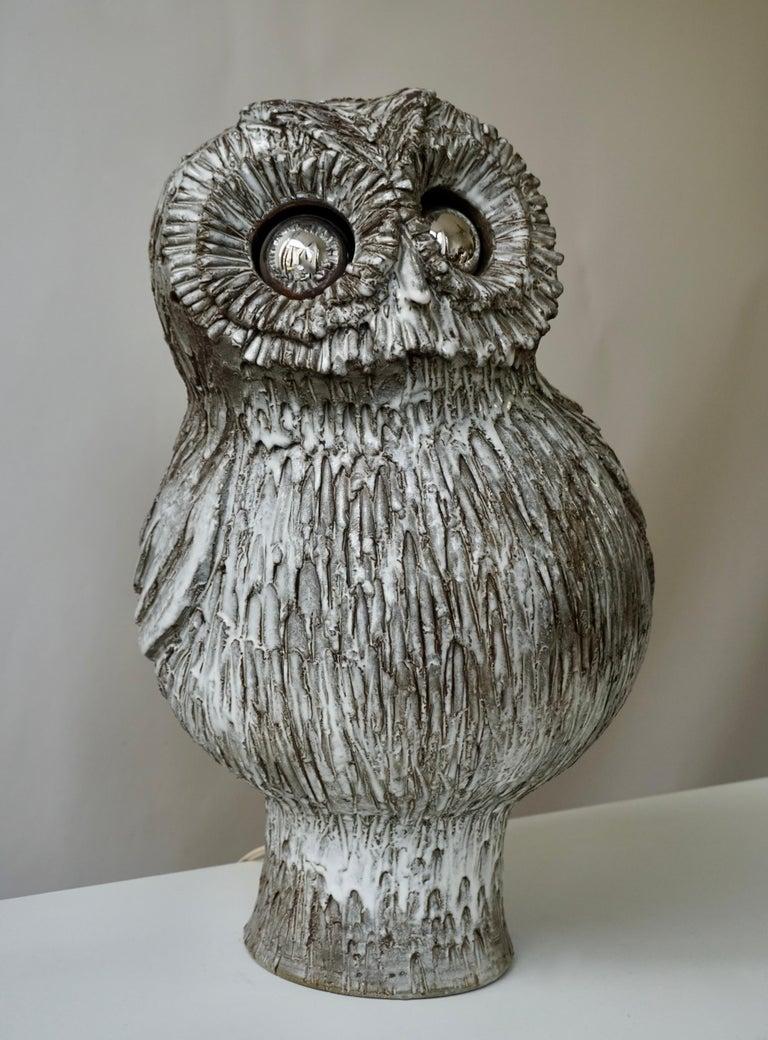 Marius Bessone Ceramic Owl Lamp Vallauris In Good Condition For Sale In Antwerp, BE