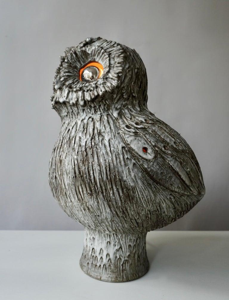 20th Century Marius Bessone Ceramic Owl Lamp Vallauris For Sale