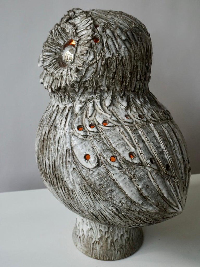 Marius Bessone Ceramic Owl Lamp Vallauris For Sale 1