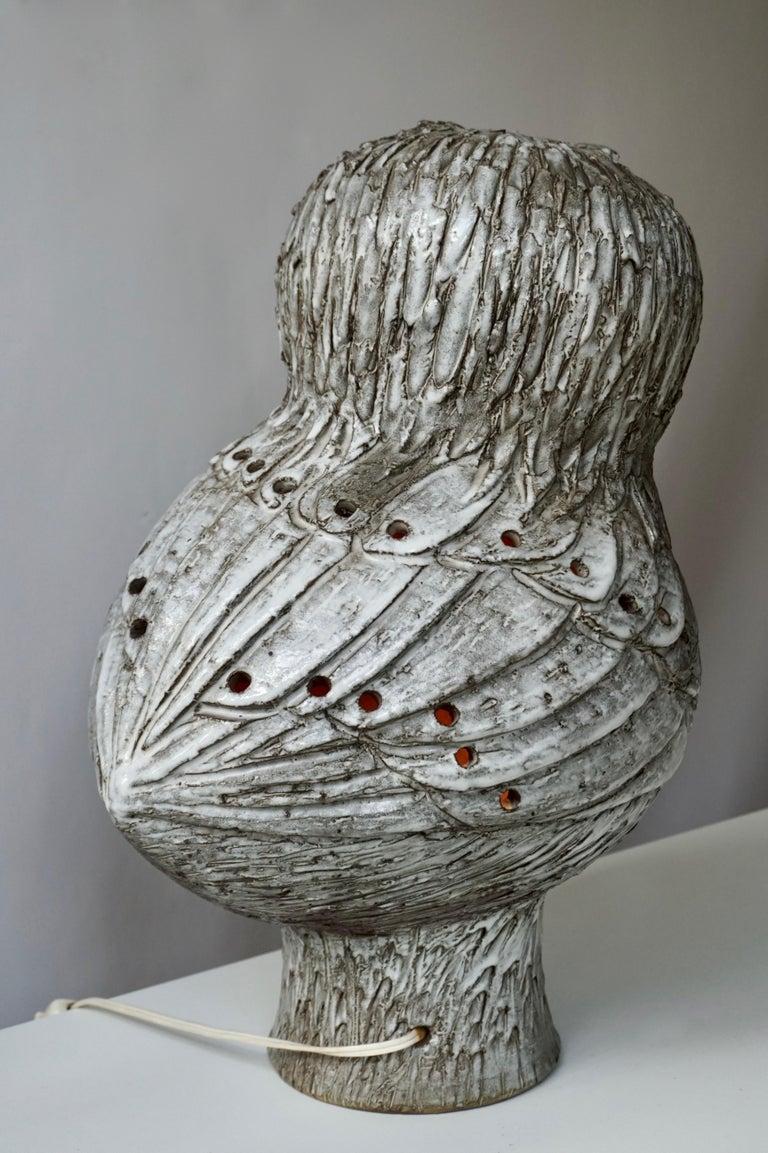 Marius Bessone Ceramic Owl Lamp Vallauris For Sale 2