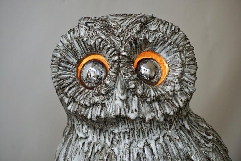Marius Bessone Ceramic Owl Lamp Vallauris For Sale 3