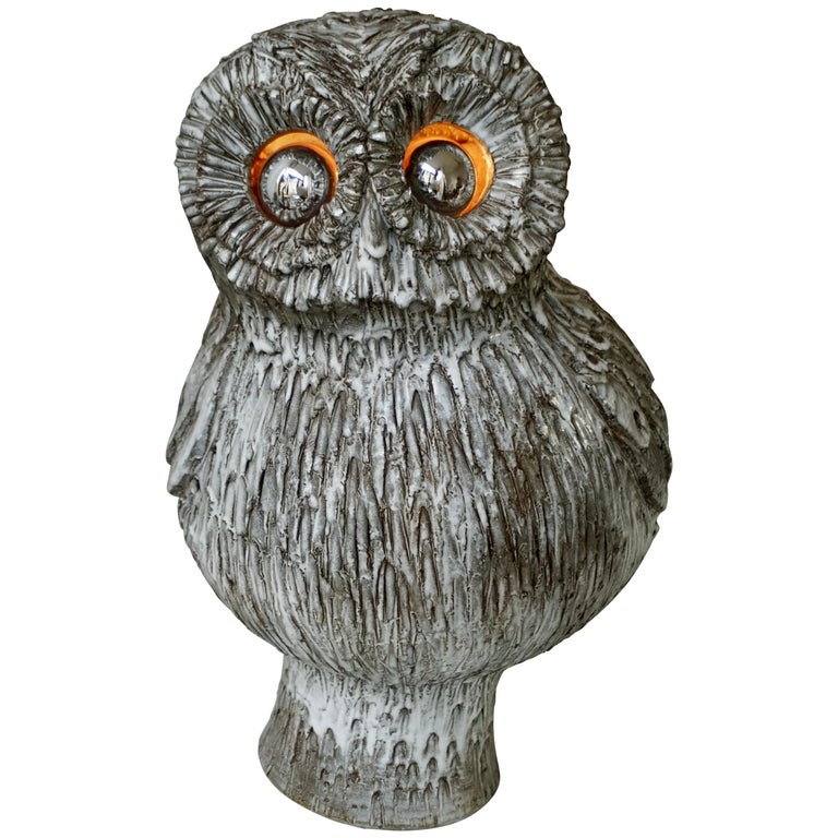 Marius Bessone Ceramic Owl Lamp Vallauris For Sale