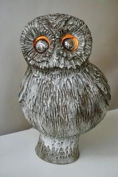 Marius Bessone Ceramic Owl Lamp Vallauris