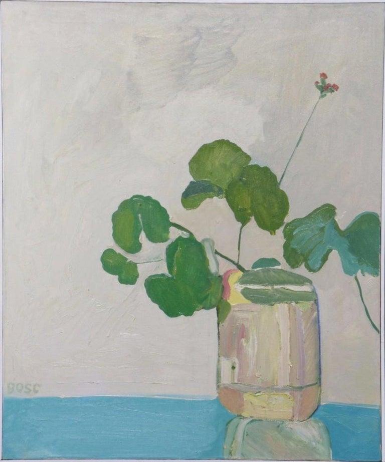 Marius Bosc Abstract Floral Still Life Painting  - Gray Still-Life Painting by Marius Bosc