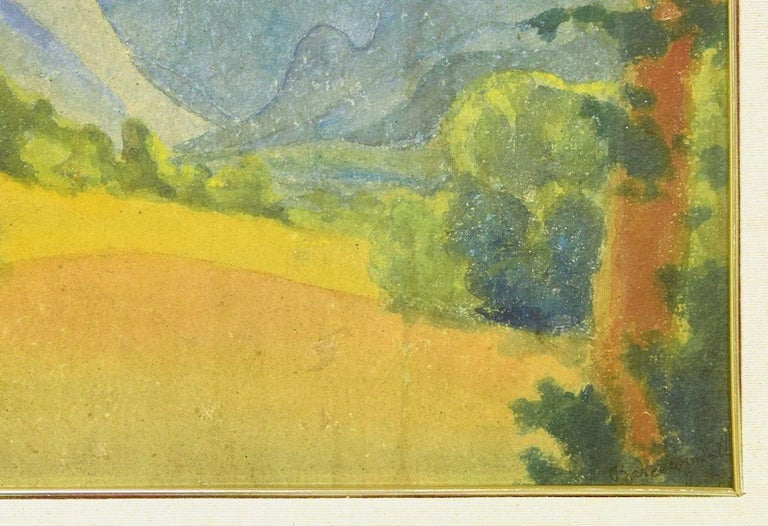 Blue Mountains - Original Watercolor on Panel by Marius Carion - 1931 For Sale 1