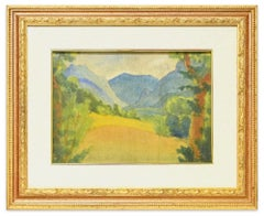 Blue Mountains - Original Watercolor on Panel by Marius Carion - 1931