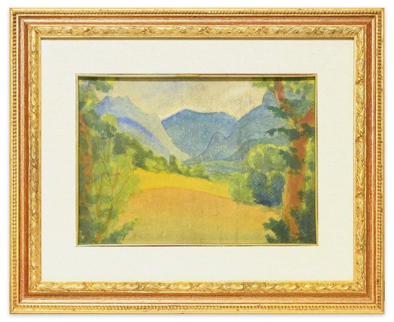 Image dimensions: 27 x 35 cm.  Blue Mountains is a beautiful original watercolor painting on panel, realized in 1931 by the artist, Marius Carion (1898 - 1949).  Title and date in black ink on lower right corner (the title is not completely