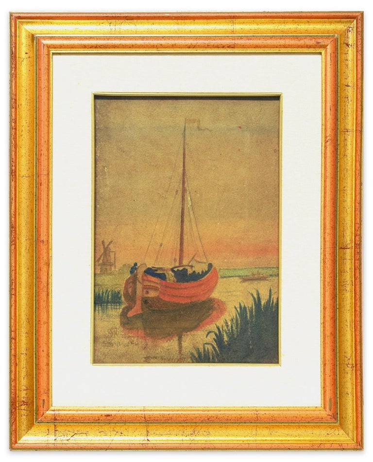 Lake Landscape with Boat - Original Watercolor on Cardboard by M. Carion - 1930s - Painting by Marius Carion